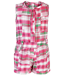 ToffyHouse Sleeveless Jumpsuit Check Pattern - Pink