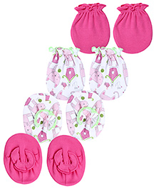 Ben Benny Mittens And Booties Set Pack of 2 - Dark Pink And White
