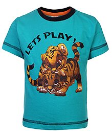 Babyhug Half Sleeves T-Shirt Lets Play Print - Sea Green