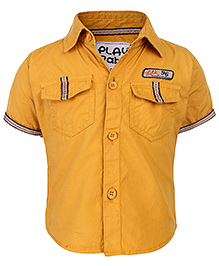 Little Kangaroos Half Sleeves Shirt Lilk Patch - Yellow