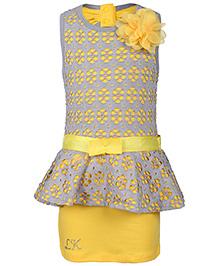 Little Kangaroos Sleeveless Party Dress Floral  Applique - Yellow