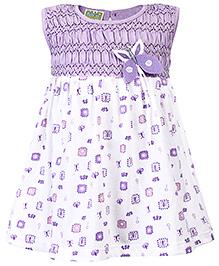 Babyhug Sleeveless Frock Butterfly Applique - Purple