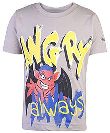 Grasshopper Glow In Dark Half Sleeves T-Shirt Angry Print - Grey