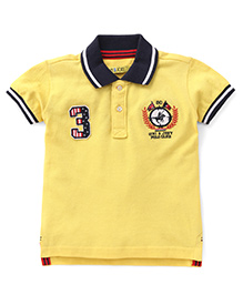 Gini & Jony Half Sleeves Polo T-Shirt 3 Logo Patch - Yellow