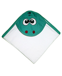 Kadambaby Hooded Towel Dino Face Print - White And Green