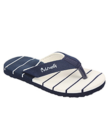 Cute Walk by Babyhug Striped Flip Flops - White Navy
