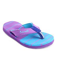 Cute Walk by Babyhug Striped Flip Flops - Purple Sky Blue