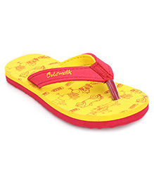 Cute Walk Flip Flops Beep Print - Red And Yellow
