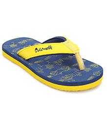 Cute Walk Flip Flops Beep Print - Navy And Yellow