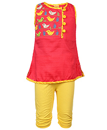Little Kangaroos Sleeveless Tunic With Leggings Floral Embroidery - Red And Yellow