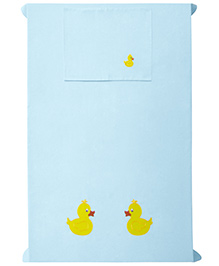 Baby Rap 1 Cot Sheet And Pillow Cover Set Duckling Embroidery - Blue