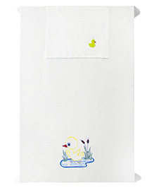 Baby Rap 1 Cot Sheet And Pillow Cover Set Duck With Flowers Embroidery - White