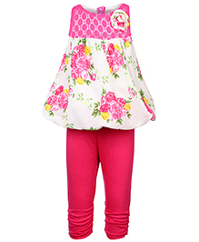 Little Kangaroos Sleeveless Tunic Top And Leggings Floral Print - White And Pink