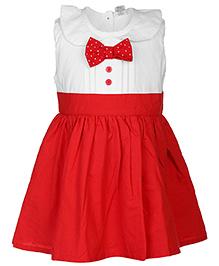 Babyhug Sleeveless Frock Peter Pan Collar - White And Red