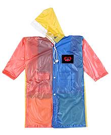 Babyhug Raincoat With Back Bag Cover Car Print - Orange Blue Yellow