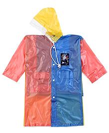 Babyhug Raincoat With Back Bag Cover Animal Print - Orange Blue Yellow