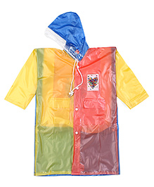Babyhug Raincoat With Back Bag Cover Butterfly Print - Multicolour
