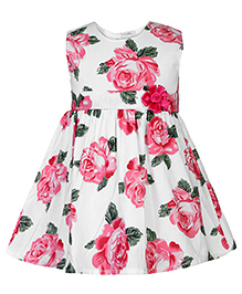 Babyhug Sleeveless Frock Floral Applique - Pink And White