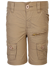 Babyhug Cargo Shorts With Pockets - Khaki Beige