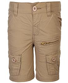 Babyhug Cargo Shorts With Pockets - Khaki Beige