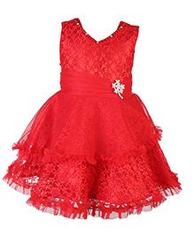 Babyhug Sleeveless Layered Frock Diamond Brooch - Red