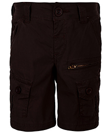Babyhug Cargo Shorts With Pockets - Choco Brown
