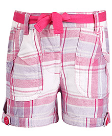 Babyhug Shorts With Fabric Belt Checks Print - Pink