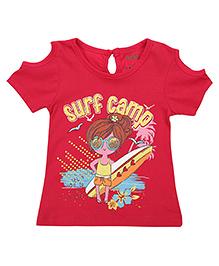 Babyhug Short Sleeves Top Surf Camp Print - Fuchsia