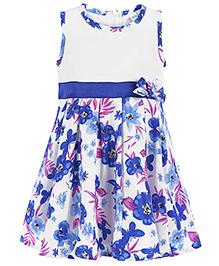 Babyhug Sleeveless Taffeta Frock Floral Print - Royal Blue And White