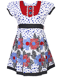 Babyhug Puff Sleeves Frock Floral Print - Red And White