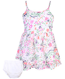Fox Baby Singlet Frock With Bloomer Floral Print - Off White