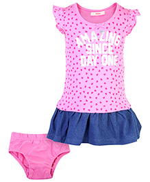 Fox Baby Flutter Sleeves Frock With Bloomer Hearts Print - Pink