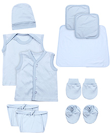 Babyhug Newborn Clothing Set Pack of 10 - Blue