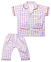 Babyhug Half Sleeves Night Suit Checks - Blue Pink Yellow