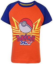 Pokemon Printed Raglan Sleeves T-Shirt - Orange And Blue