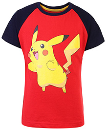 Pokemon Printed Raglan Sleeves T-Shirt - Navy Blue And Red