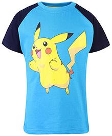 Pokemon Printed Raglan Sleeves T-Shirt - Navy Blue And Turquoise