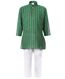 Babyhug Full Sleeves Kurta And Pajama Stripe Pattern - Green
