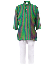Babyhug Full Sleeves Kurta And Pajama Stripe Pattern - Green