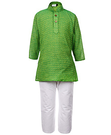 Babyhug Full Sleeves Kurta And Pajama Self Pattern - Green And White