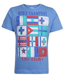 Beebay Half Sleeves T-Shirt World Champions Print - Blue