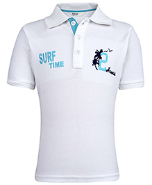 Beebay Half Sleeves T-Shirt Surf Time Embroidery - White