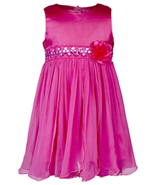 Toy Balloon Sleeveless Dress Floral Embellishment - Pink