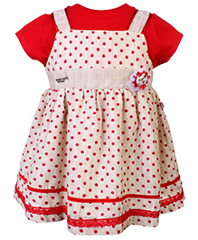 Peppermint Sleeveless Frock With Inner Tee Polka Dot Print - Cream And Red