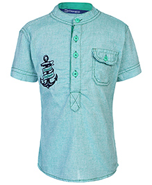 Dreamszone Half Sleeves Shirt Anchor Embroidery - Green