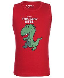 Tantra Sleeveless Vest Dinosaur Print - Red