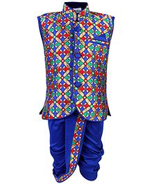 Babyhug Sleeveless  Jacket Style Kurta And Dhoti Set - Royal Blue