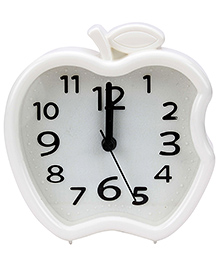 Quartz Alarm Clock Apple Shape - White