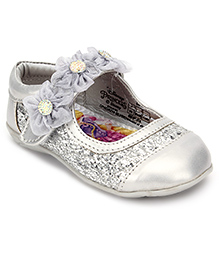 Disney Belly Shoes With Velcro Closure Floral Appliques - Silver