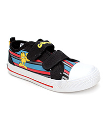 Garfield Canvas Shoes With Dual Velcro Closure Stripe Pattern - Black